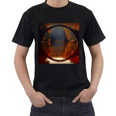 River Water Reflections Autumn Men s T Shirt (black) (two Sided)