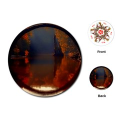 River Water Reflections Autumn Playing Cards (round)  by BangZart