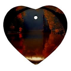 River Water Reflections Autumn Heart Ornament (two Sides)