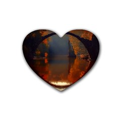 River Water Reflections Autumn Heart Coaster (4 Pack)  by BangZart