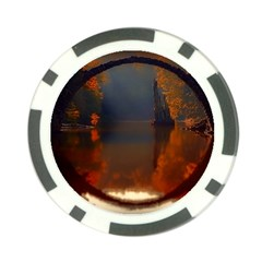 River Water Reflections Autumn Poker Chip Card Guard