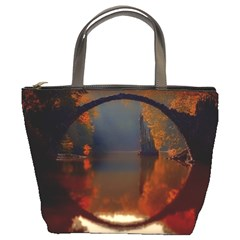 River Water Reflections Autumn Bucket Bags by BangZart