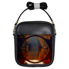 River Water Reflections Autumn Girls Sling Bags