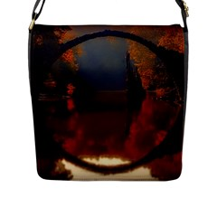 River Water Reflections Autumn Flap Messenger Bag (l)