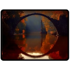 River Water Reflections Autumn Double Sided Fleece Blanket (large)  by BangZart