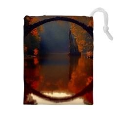 River Water Reflections Autumn Drawstring Pouches (extra Large)