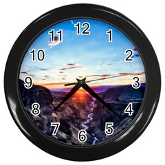 Iceland Landscape Mountains Stream Wall Clocks (black) by BangZart