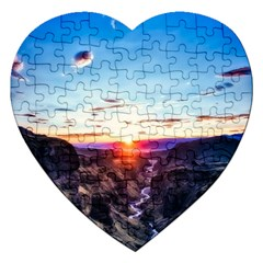 Iceland Landscape Mountains Stream Jigsaw Puzzle (heart) by BangZart