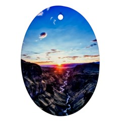 Iceland Landscape Mountains Stream Oval Ornament (two Sides)