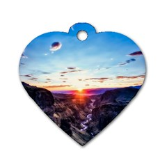 Iceland Landscape Mountains Stream Dog Tag Heart (two Sides)