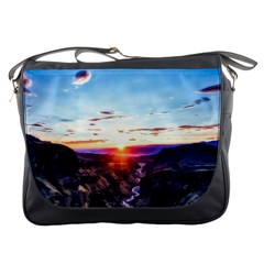 Iceland Landscape Mountains Stream Messenger Bags