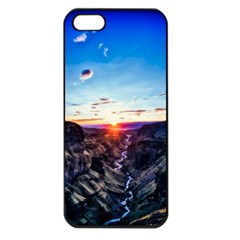 Iceland Landscape Mountains Stream Apple Iphone 5 Seamless Case (black)