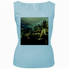 Singapore City Urban Skyline Women s Baby Blue Tank Top