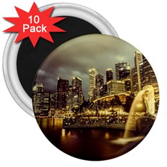 Singapore City Urban Skyline 3  Magnets (10 Pack)