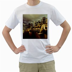 Singapore City Urban Skyline Men s T Shirt (white) (two Sided)