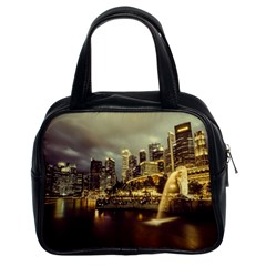 Singapore City Urban Skyline Classic Handbags (2 Sides) by BangZart