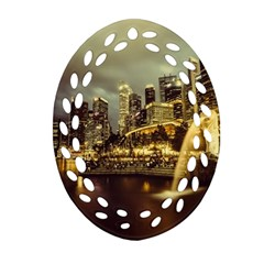 Singapore City Urban Skyline Oval Filigree Ornament (two Sides) by BangZart
