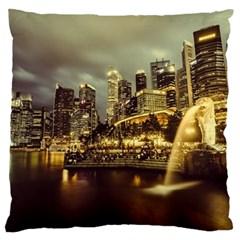 Singapore City Urban Skyline Large Cushion Case (two Sides)