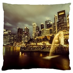 Singapore City Urban Skyline Large Flano Cushion Case (two Sides)