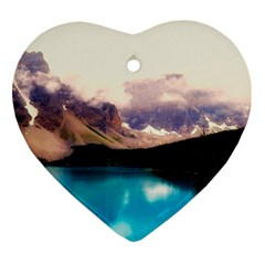 Austria Mountains Lake Water Ornament (heart)