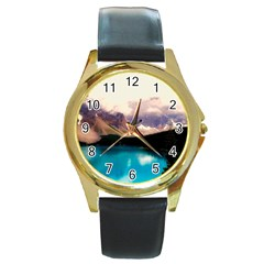 Austria Mountains Lake Water Round Gold Metal Watch