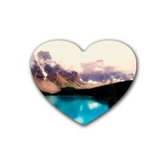 Austria Mountains Lake Water Rubber Coaster (heart)