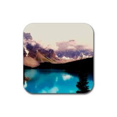 Austria Mountains Lake Water Rubber Square Coaster (4 Pack)