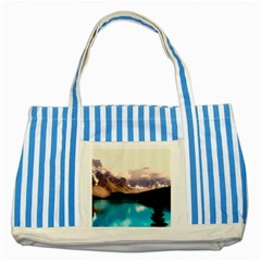 Austria Mountains Lake Water Striped Blue Tote Bag