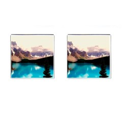 Austria Mountains Lake Water Cufflinks (square) by BangZart