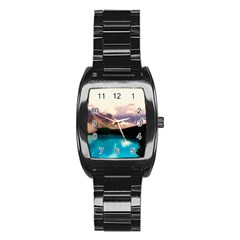 Austria Mountains Lake Water Stainless Steel Barrel Watch by BangZart