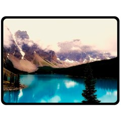 Austria Mountains Lake Water Double Sided Fleece Blanket (large)