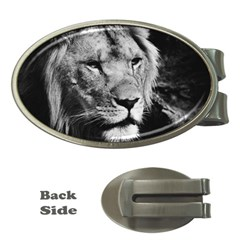 Africa Lion Male Closeup Macro Money Clips (oval)  by BangZart