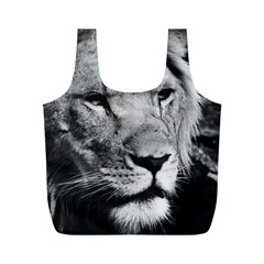 Africa Lion Male Closeup Macro Full Print Recycle Bags (m)