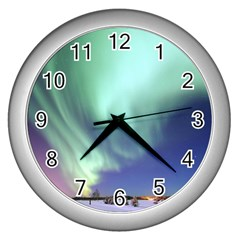 Aurora Borealis Alaska Space Wall Clocks (silver)