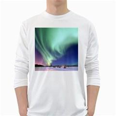 Aurora Borealis Alaska Space White Long Sleeve T Shirts