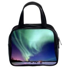 Aurora Borealis Alaska Space Classic Handbags (2 Sides) by BangZart