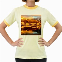 France Snow Winter Sunrise Fog Women s Fitted Ringer T Shirts