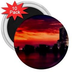 New York City Urban Skyline Harbor 3  Magnets (10 Pack)