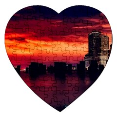 New York City Urban Skyline Harbor Jigsaw Puzzle (heart)