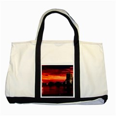 New York City Urban Skyline Harbor Two Tone Tote Bag