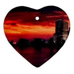 New York City Urban Skyline Harbor Heart Ornament (two Sides)