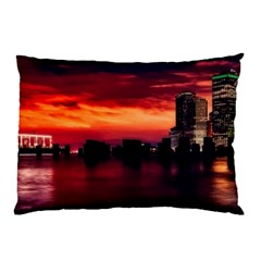 New York City Urban Skyline Harbor Pillow Case by BangZart