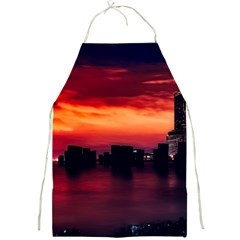 New York City Urban Skyline Harbor Full Print Aprons by BangZart