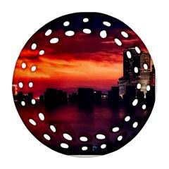 New York City Urban Skyline Harbor Round Filigree Ornament (two Sides)