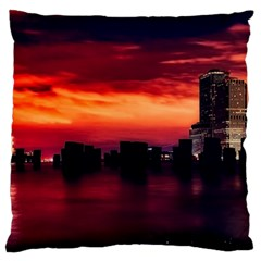 New York City Urban Skyline Harbor Standard Flano Cushion Case (two Sides)