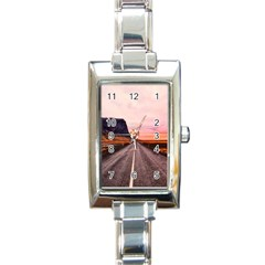 Iceland Sky Clouds Sunset Rectangle Italian Charm Watch