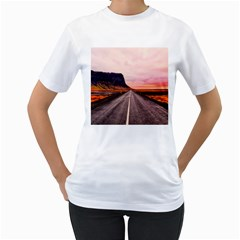 Iceland Sky Clouds Sunset Women s T Shirt (white) (two Sided)