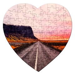 Iceland Sky Clouds Sunset Jigsaw Puzzle (heart) by BangZart