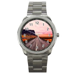 Iceland Sky Clouds Sunset Sport Metal Watch