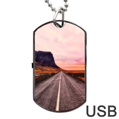 Iceland Sky Clouds Sunset Dog Tag Usb Flash (one Side) by BangZart